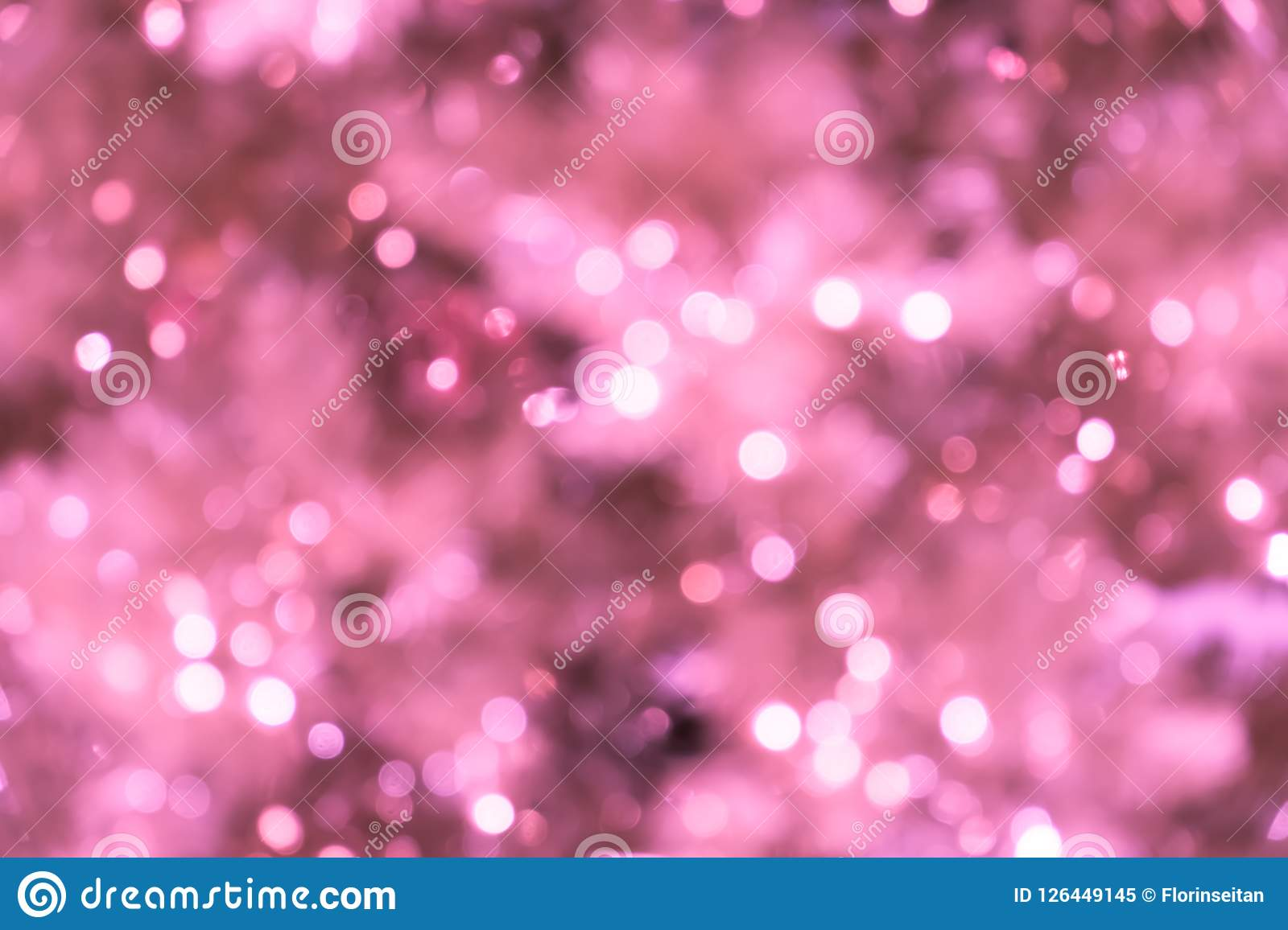 Download Pink Blurred Background With Bokeh Lights Closeup Of Christmas Tree