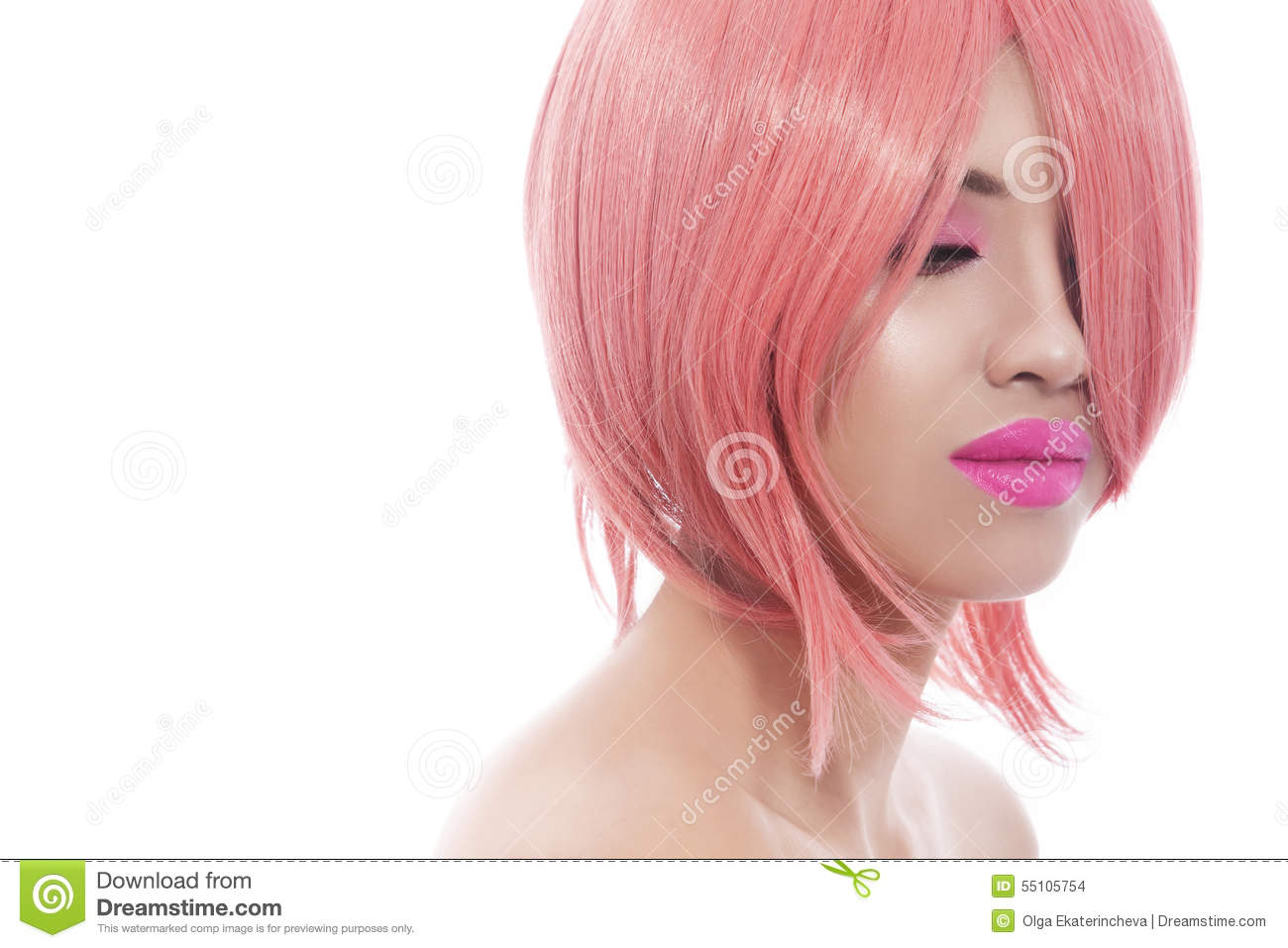 Z Cut Hairstyle: Pink Bob Haircut Stock Photo