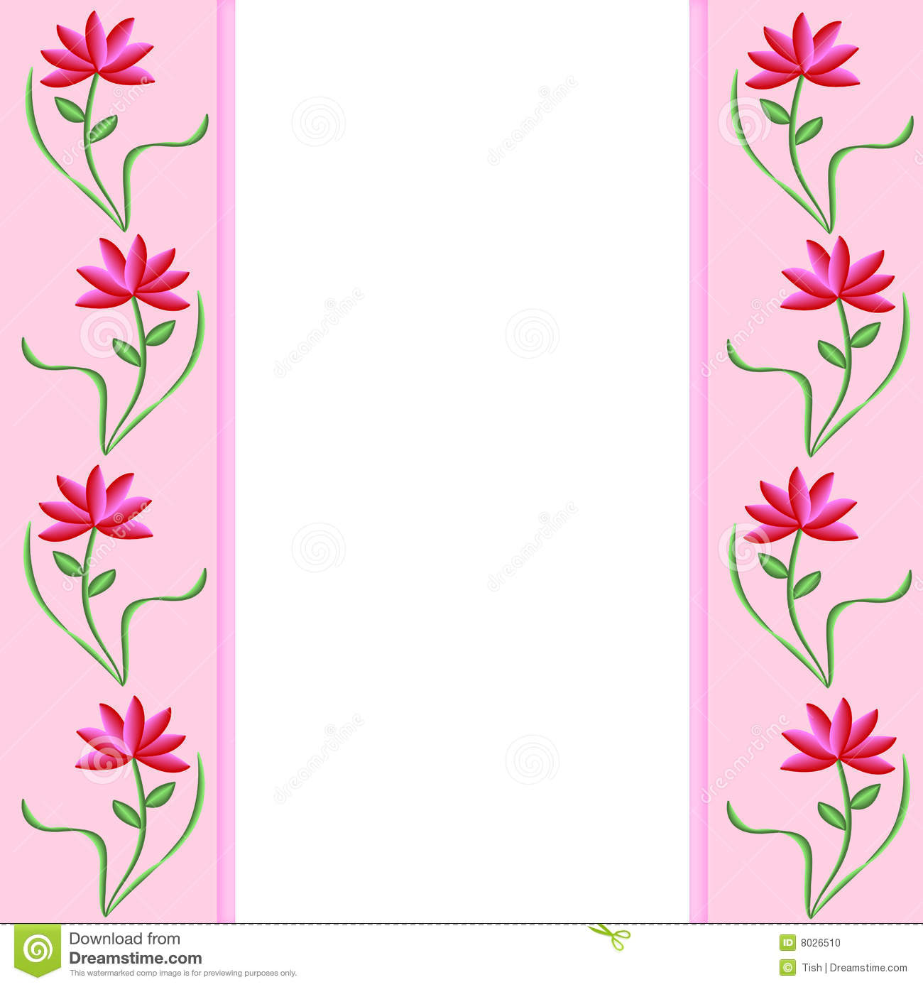 Pink Borders With Flowers Illustration 8026510 Megapixl