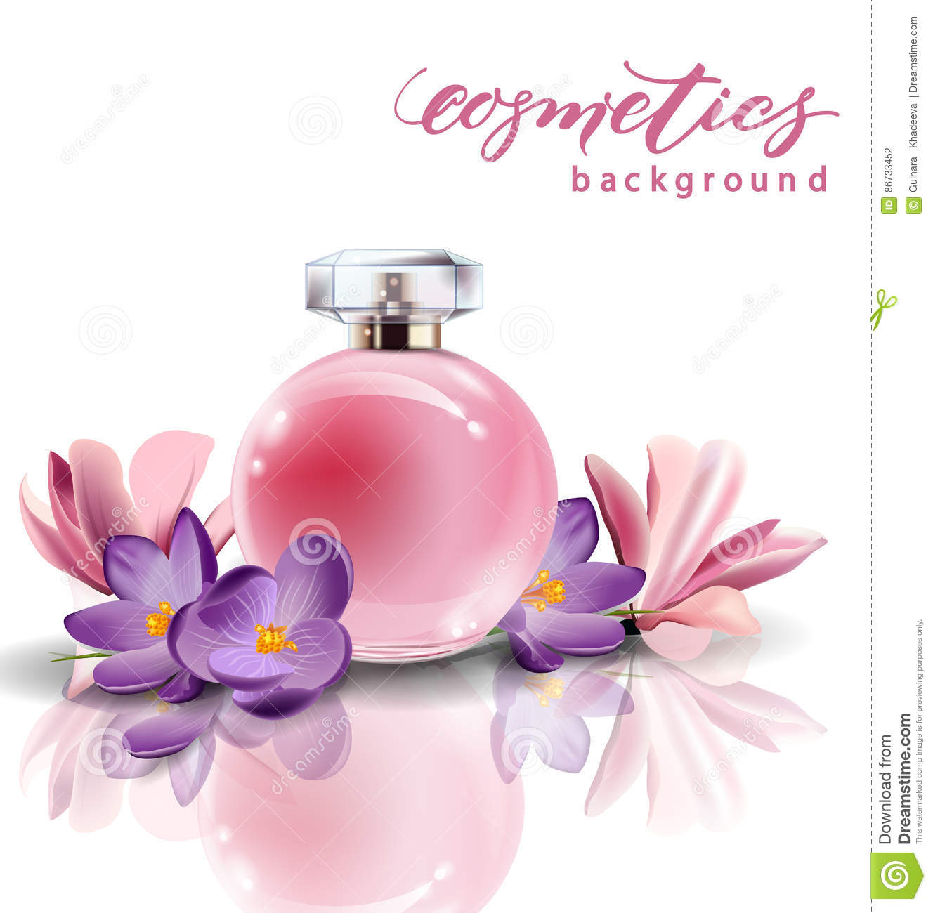 Pink bottle womens perfume with spring flowers crocuses vector download pink bottle womens perfume with spring flowers crocuses vector stock illustration mightylinksfo