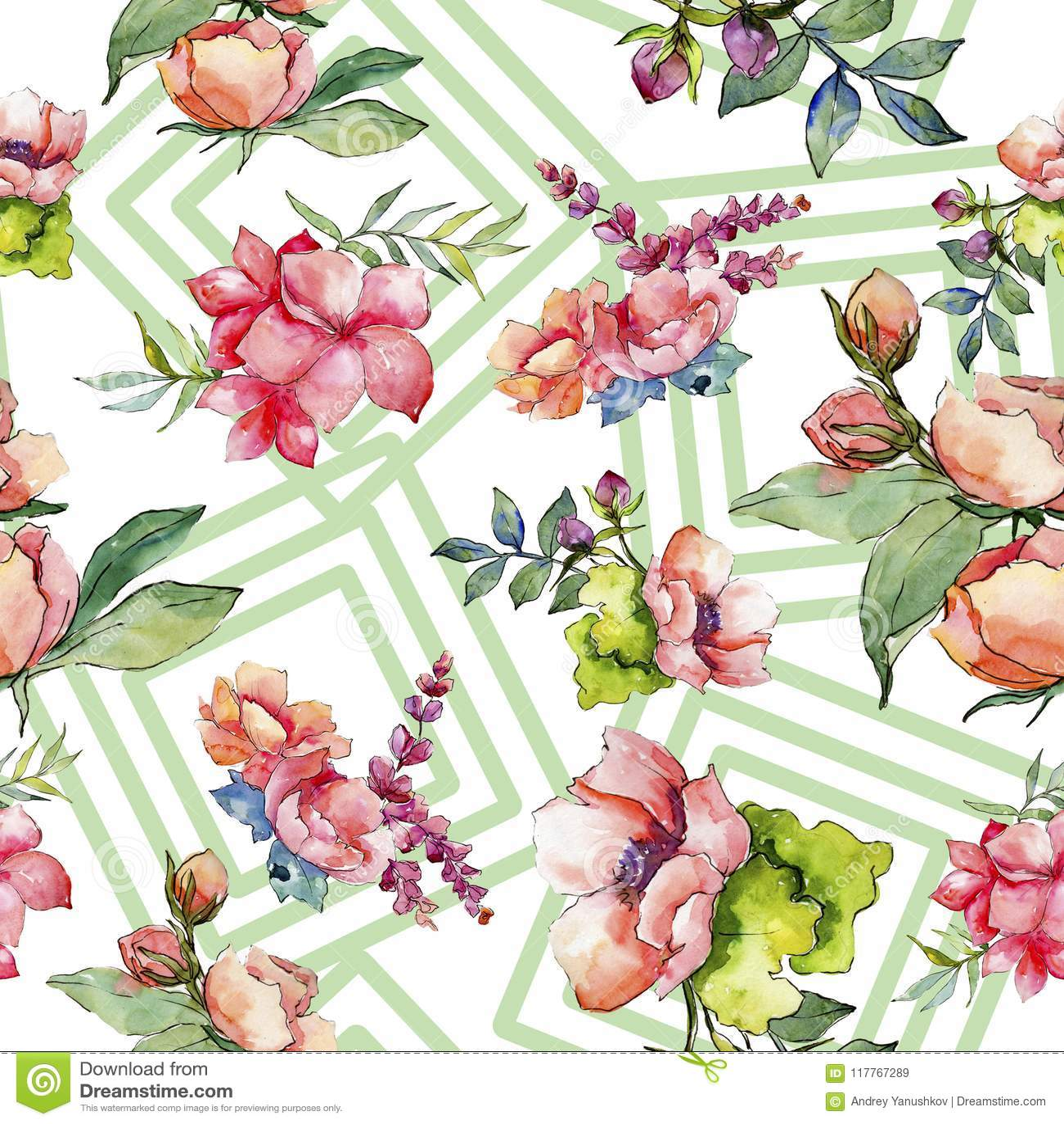 Pink Bouquet Wildflower Seamless Background Pattern Fabric