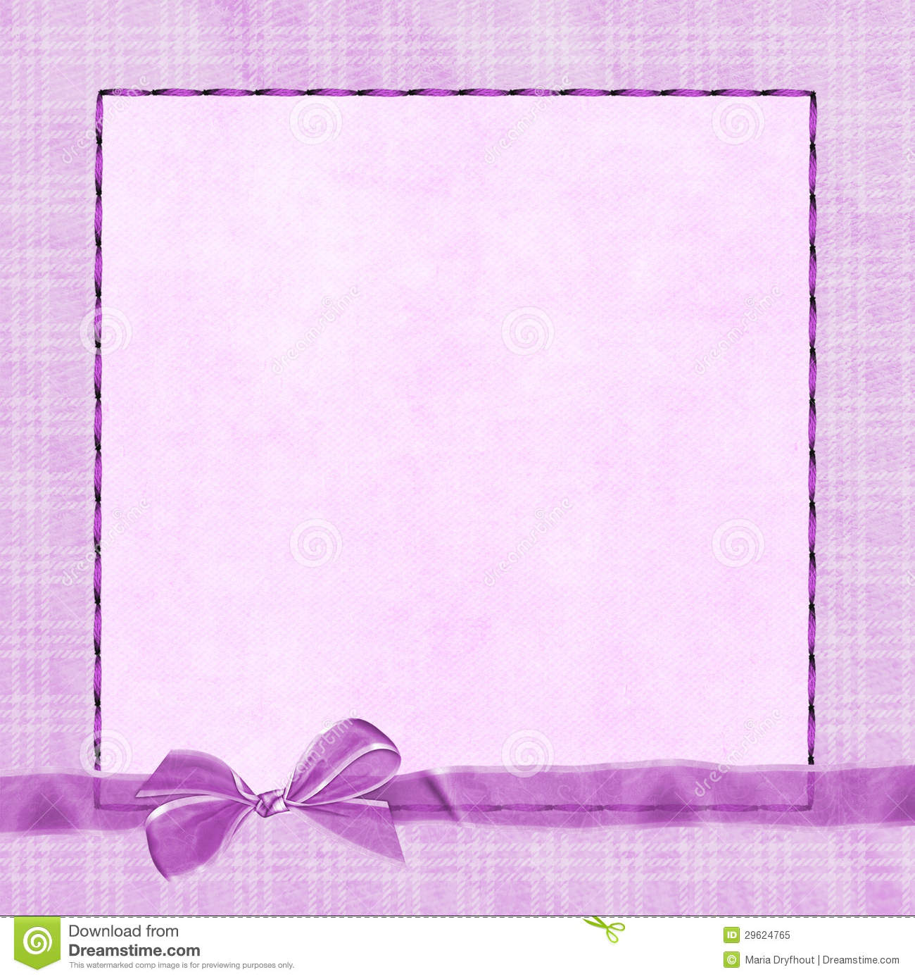 Pink Bow On Plaid Border Royalty Free Stock Photo - Image ...
