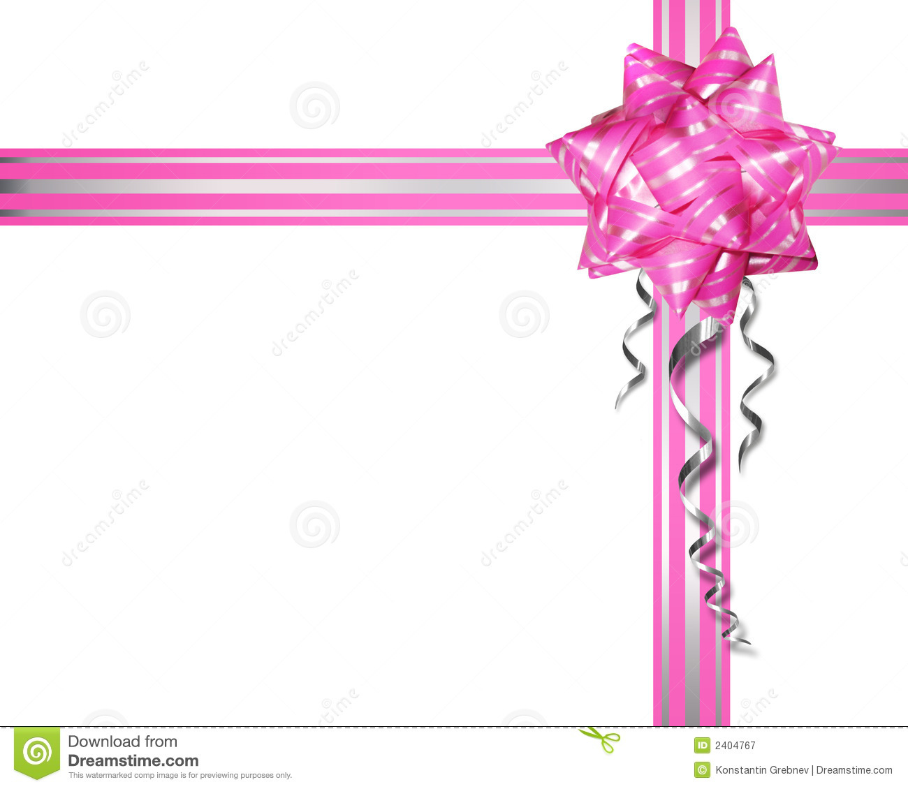 Pink Bow On A White Background Stock Image Image 2404767