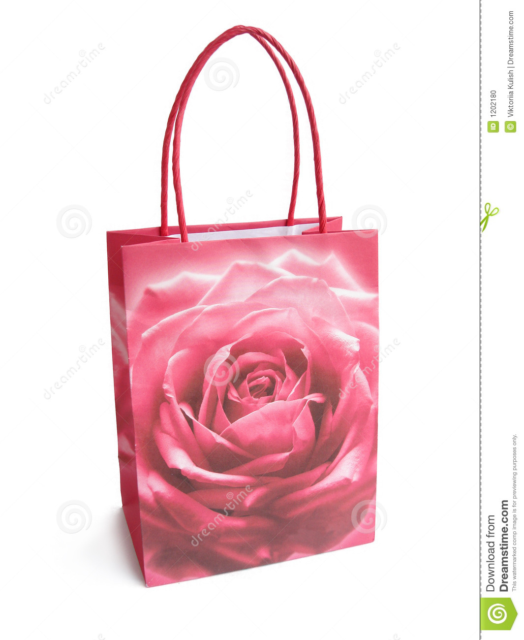 pink brightly colored shopping bag isolated over a white background