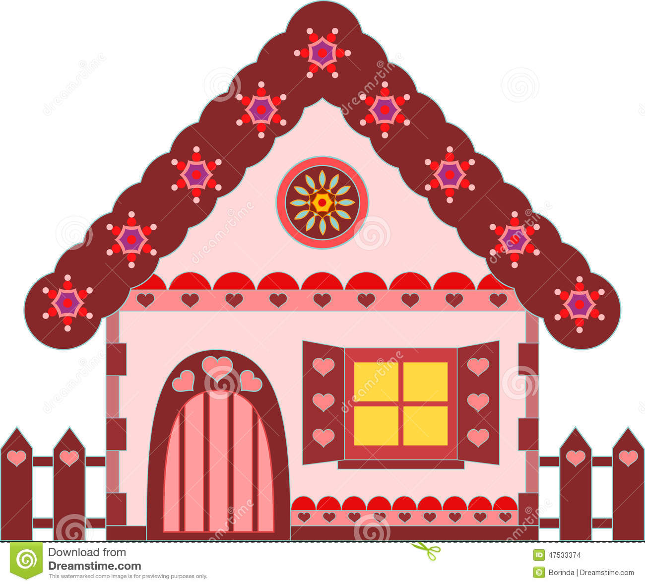 pink and brown gingerbread house illustration stock illustration
