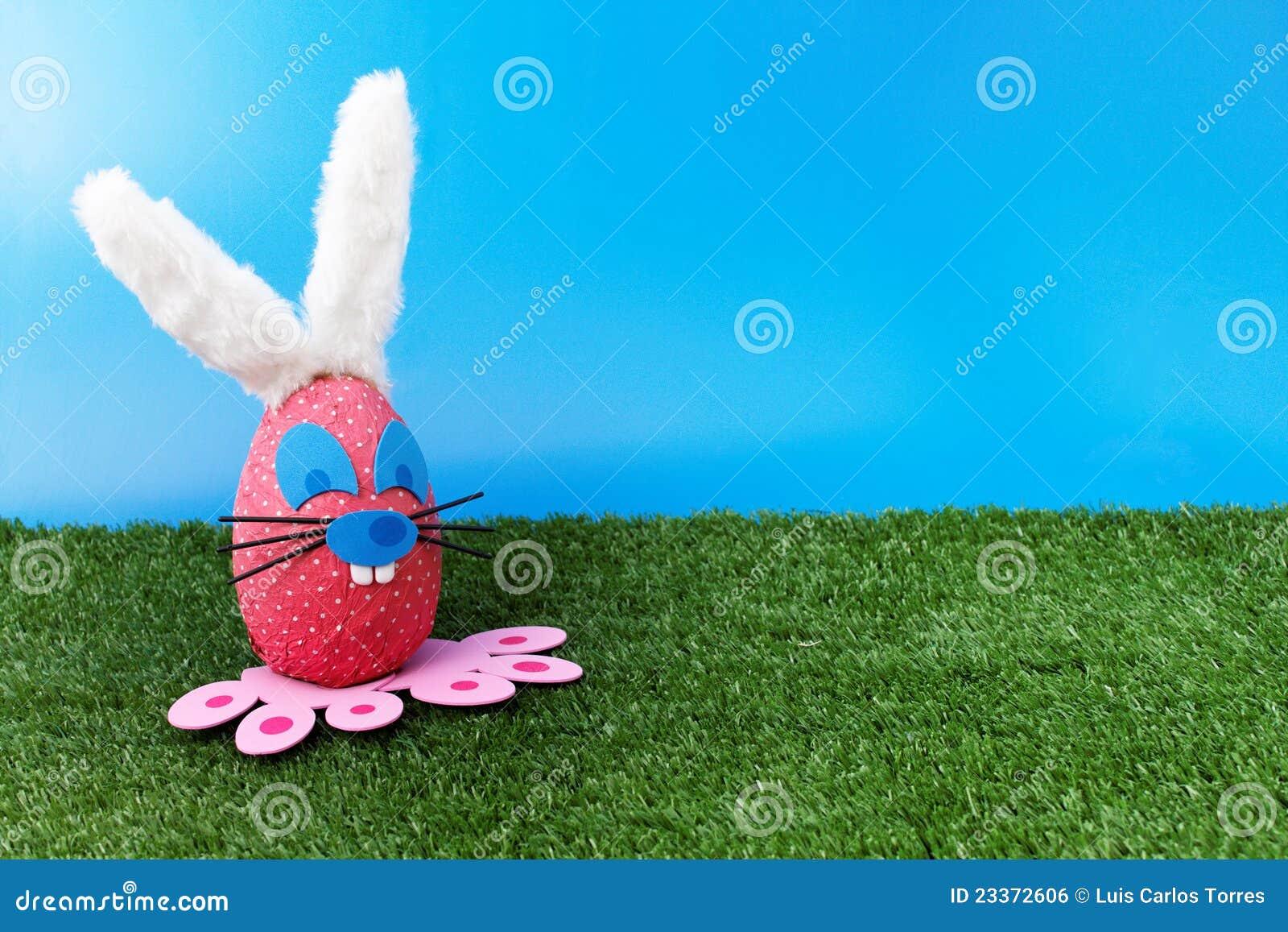 Pink bunny on garden