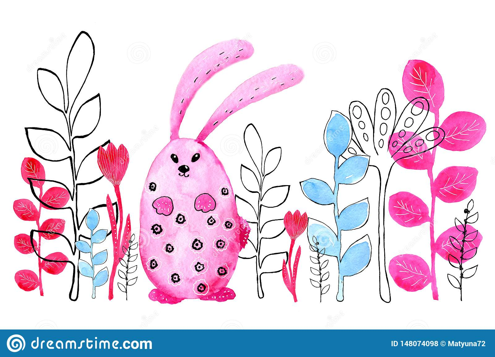 Pink bunny, rabbit. Border. Drawing in watercolor and graphic style for the design of prints, backgrounds, cards, wedding