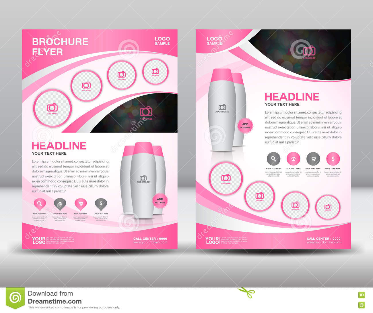 Pink Business Brochure Flyer Design Layout Template In A4