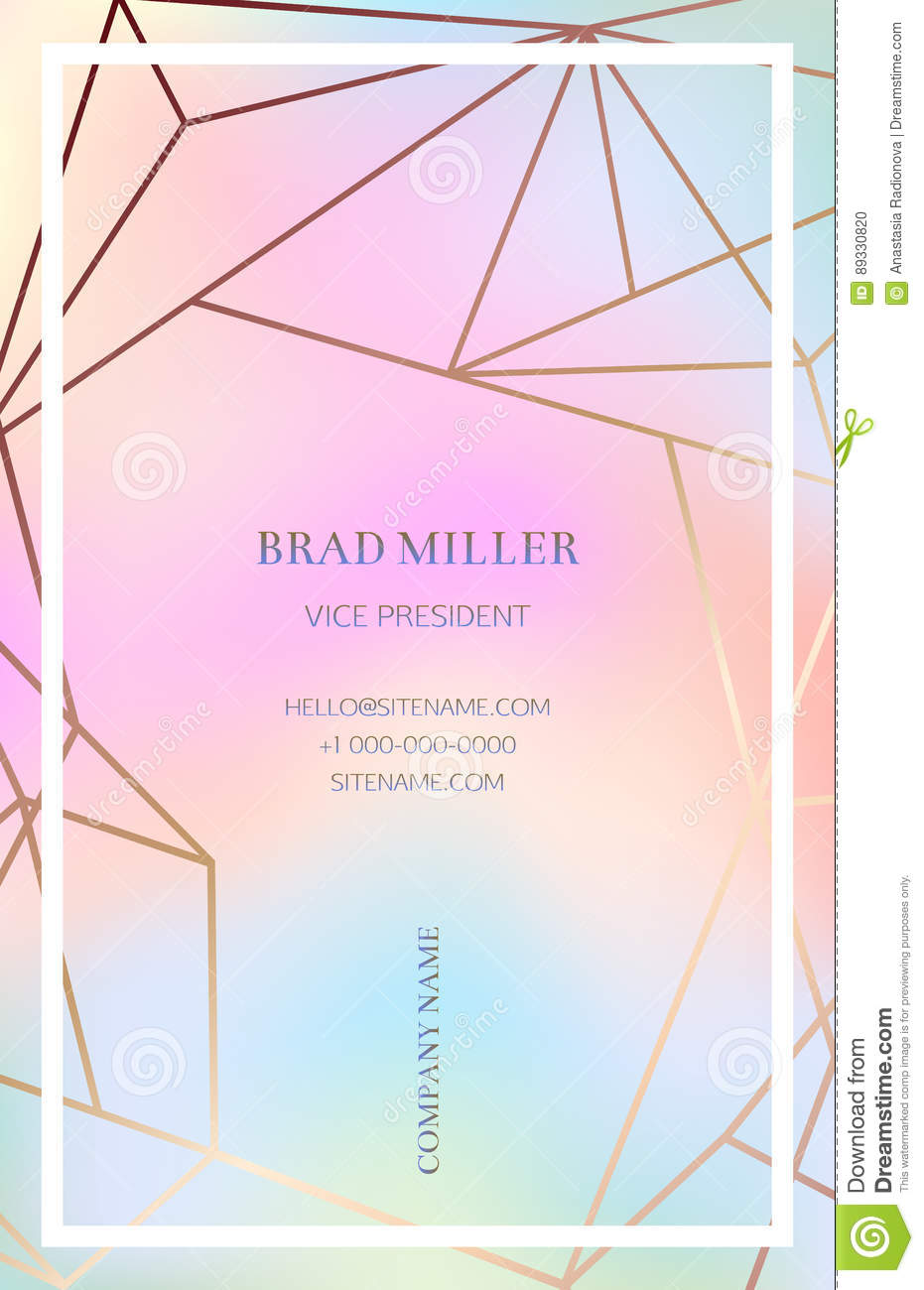 Pink Business Card With A Geometric Pattern Stock Vector