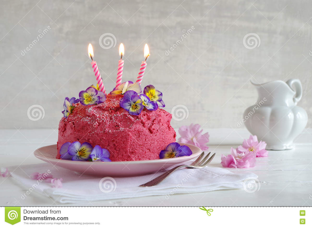 Pink Butter Cream Cake With Candle Stock Photo Image Of Cookie