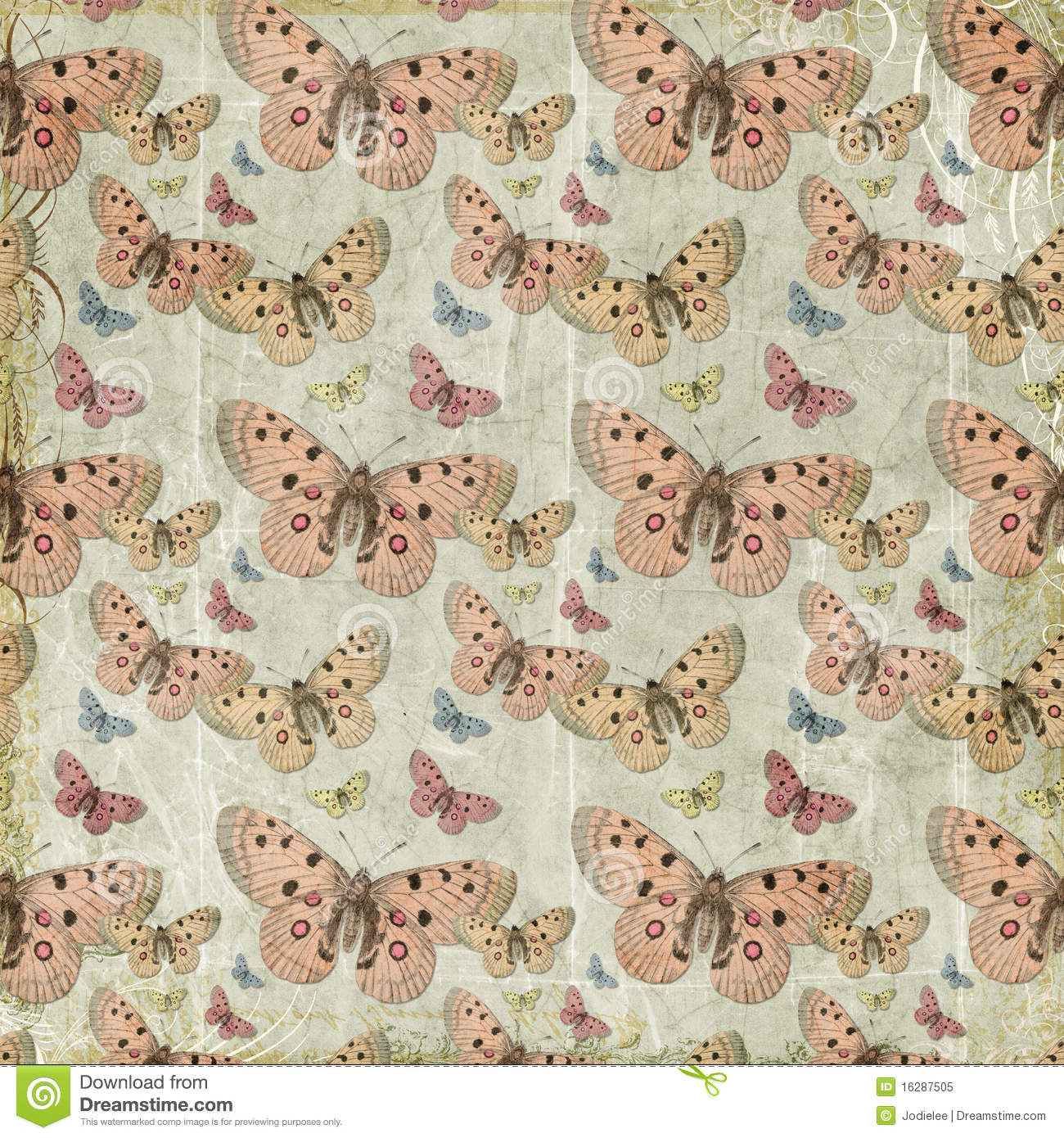 Pink butterflies repeat pattern background