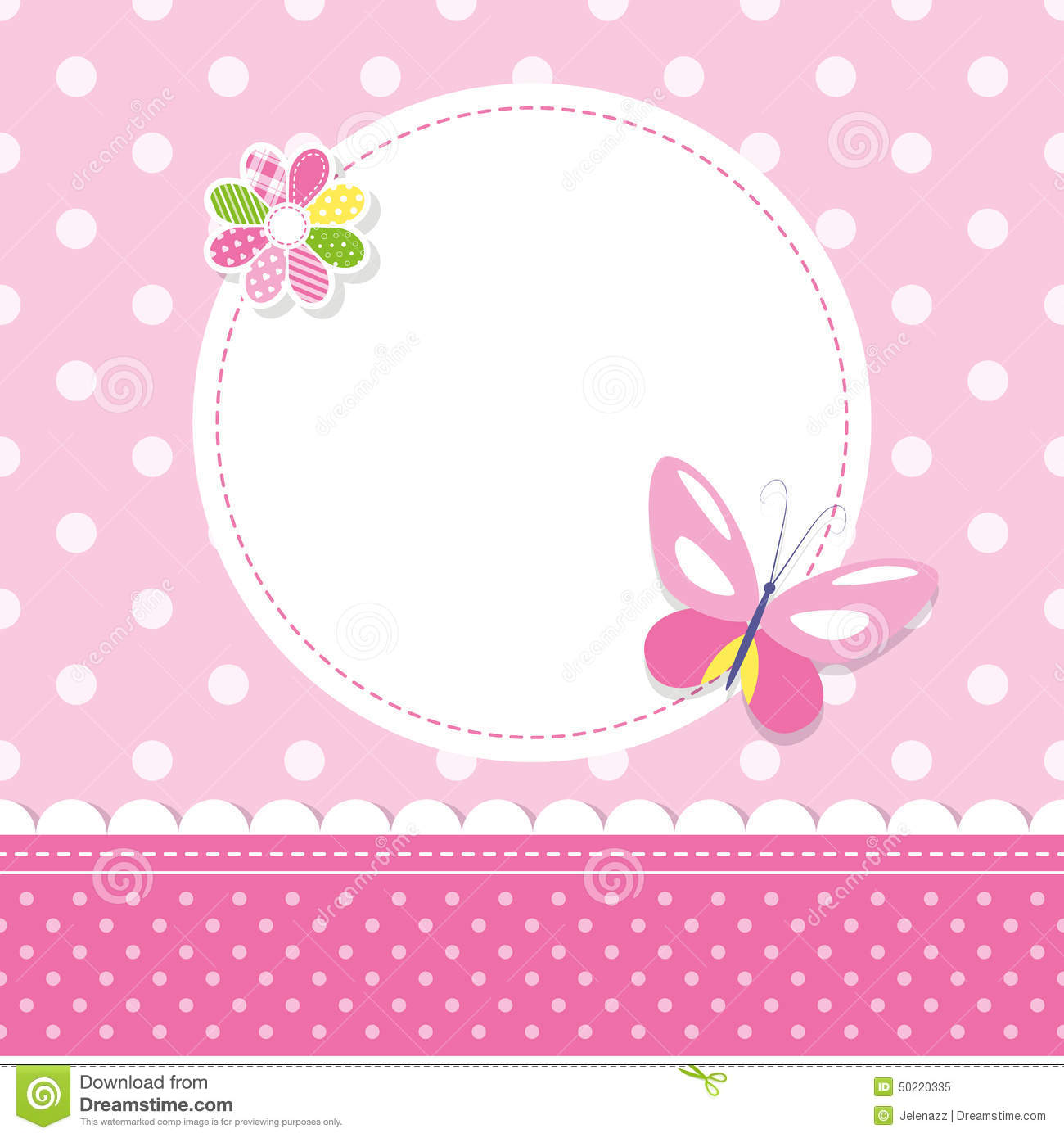 Pink Butterfly Baby Girl Greeting Card Stock Vector - Image: 50220335