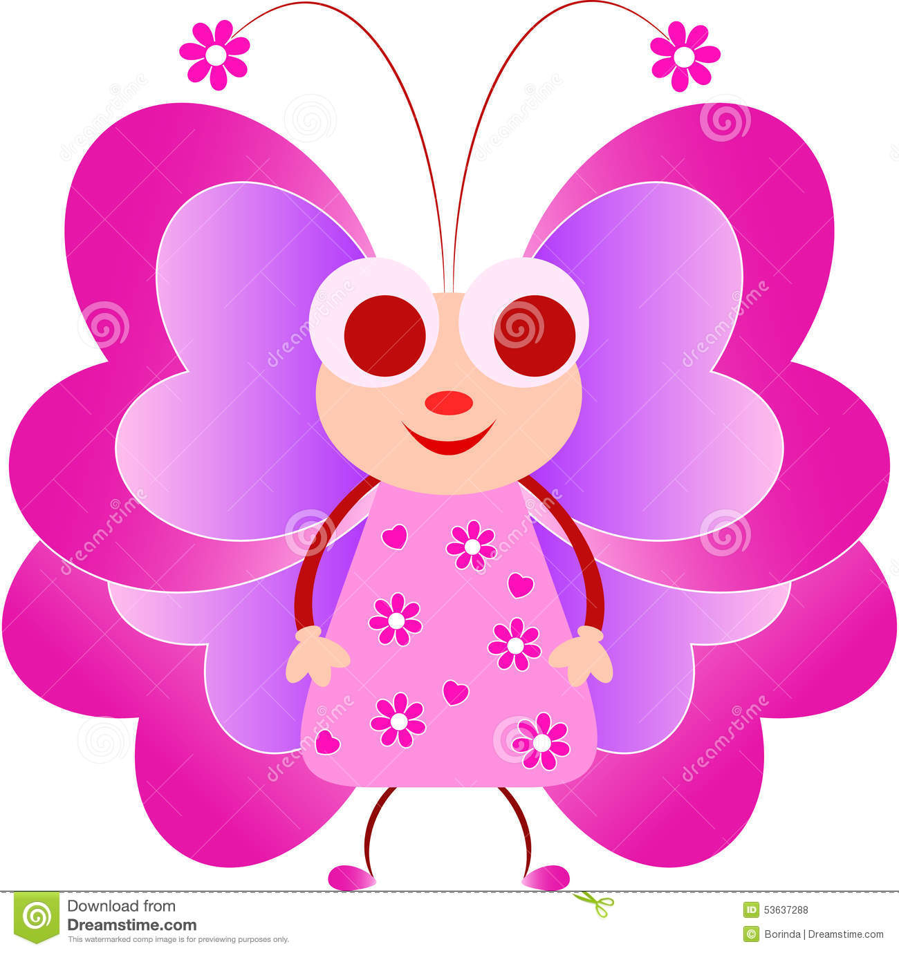 Pink Butterfly Illustration Cartoon Stock