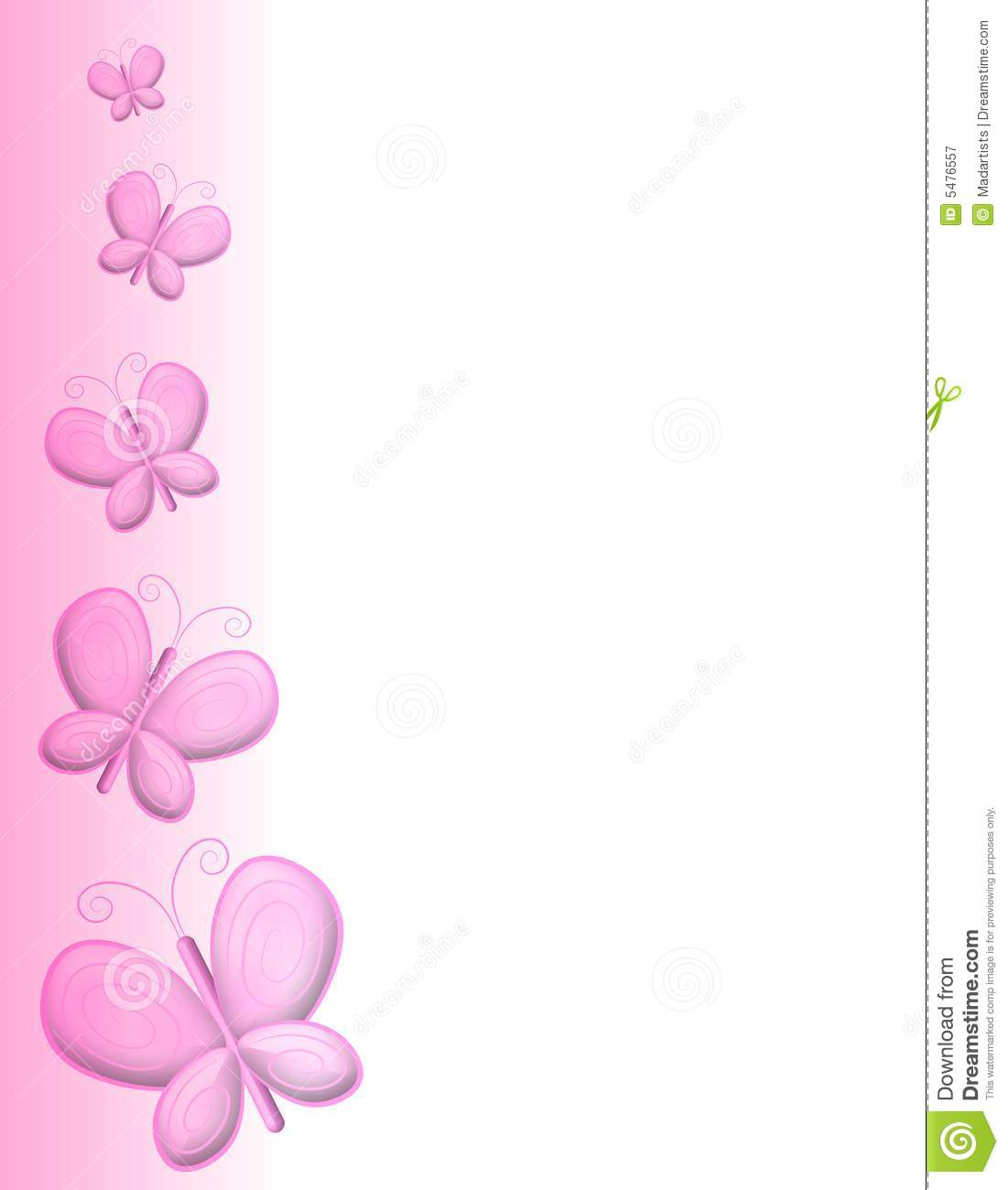 Light Pink Butterfly Clipart Pink butterfly page border