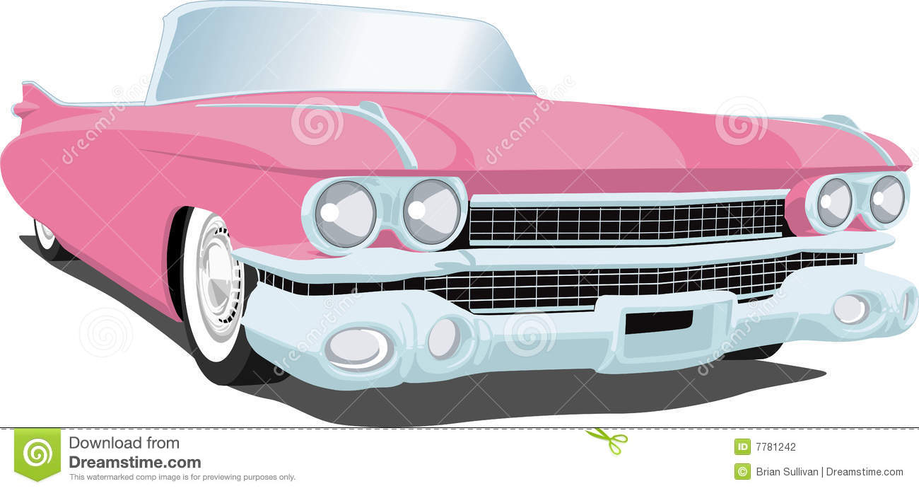 Pink Cadillac Stock Vector Illustration Of Convertible 7781242