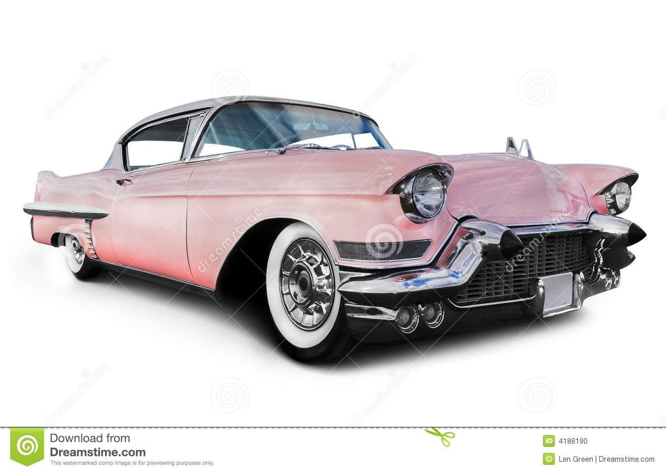 Old Pink Car. Pink cadillac car, isolated on a white background.