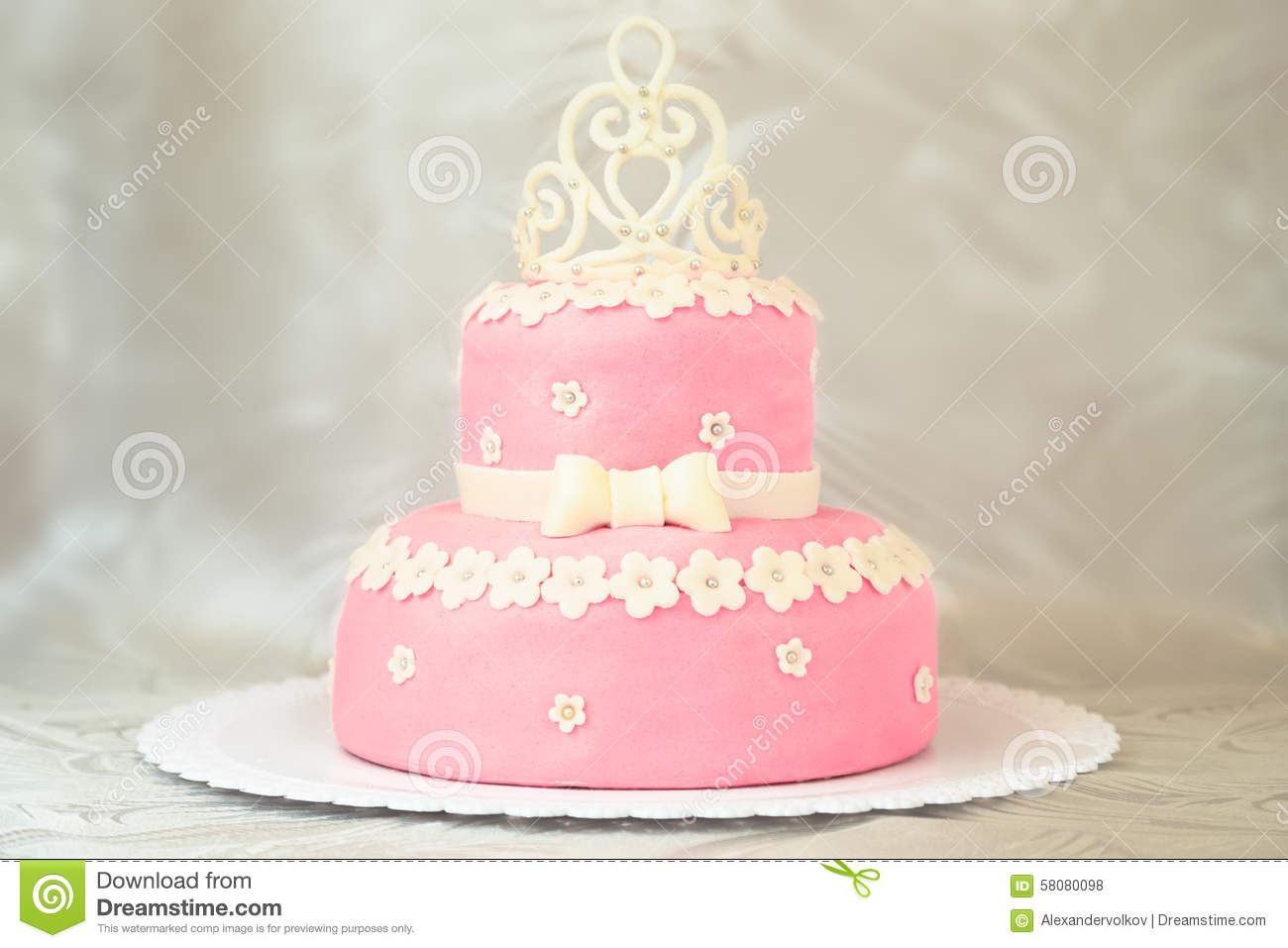 Pink cake with a crown stock photo. Image of decoration - 58080098