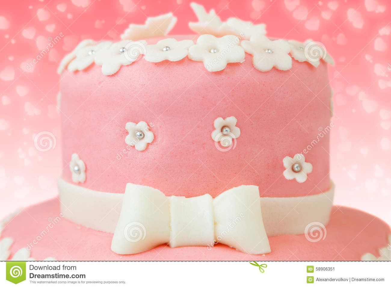 Pink cake with flower and butterfly decor stock image image of pink cake with flower and butterfly decor izmirmasajfo
