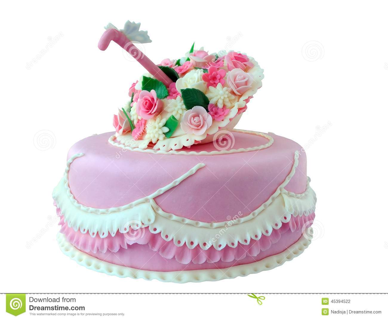 Pink Cake With Flowers And Butterfly Stock Photo Image Of Baked