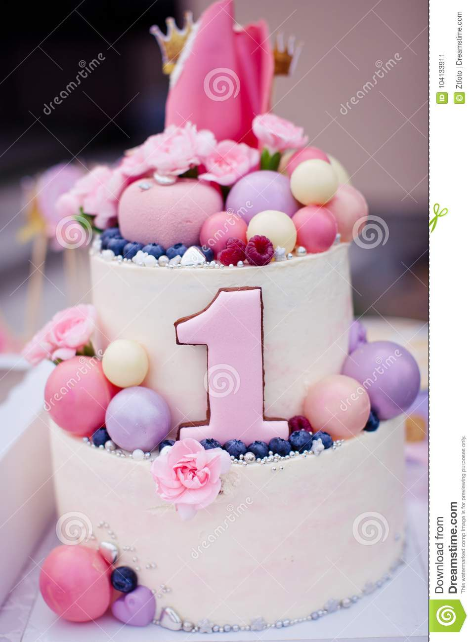 Superb Pink Cake For A Girl On The Birthday Of One Year Old Stock Image Funny Birthday Cards Online Inifofree Goldxyz