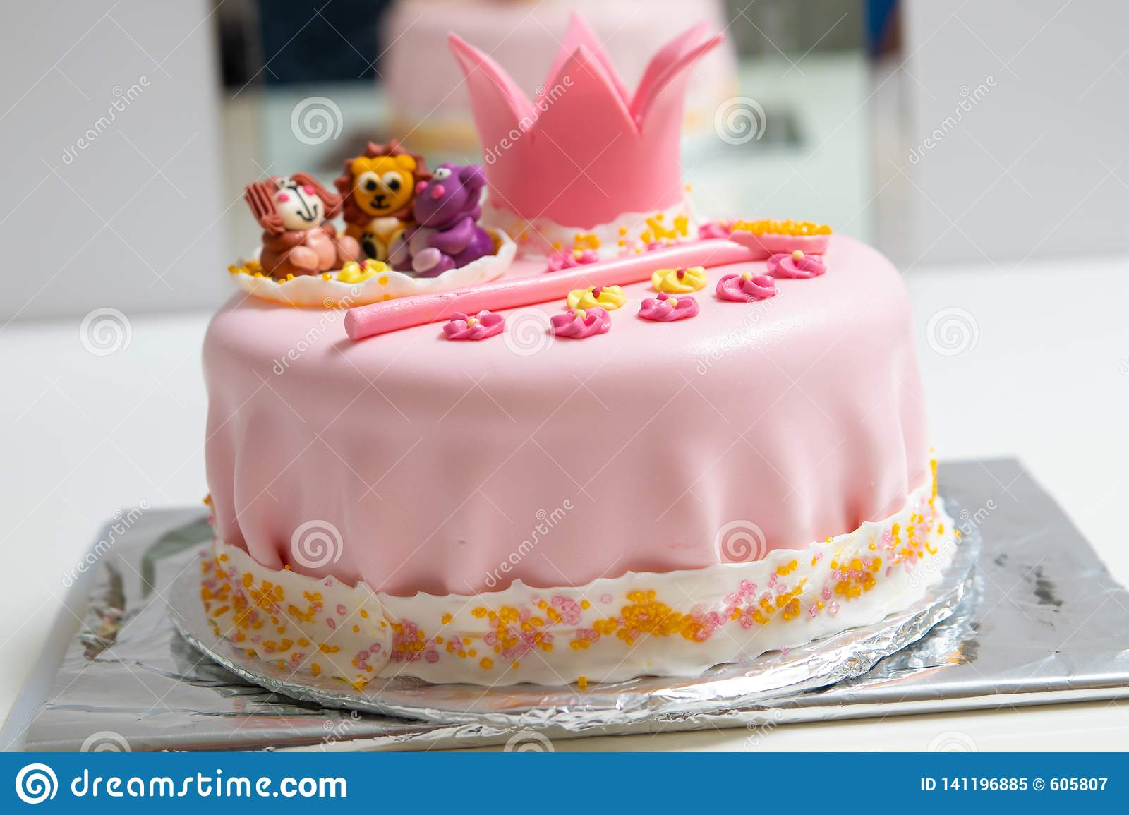 Pink Cake Of A Little Princess With Crown And Animal Figures Birthday One Year Old Holiday Concept