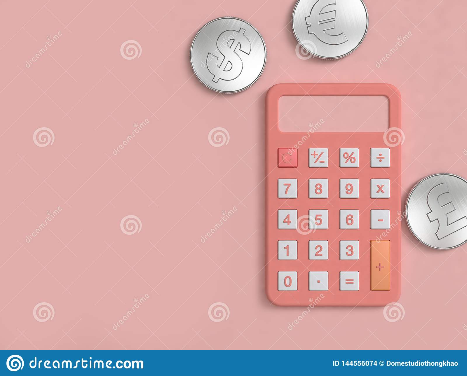 Pink calculator and three silver coin on pink floor minimal 3d render