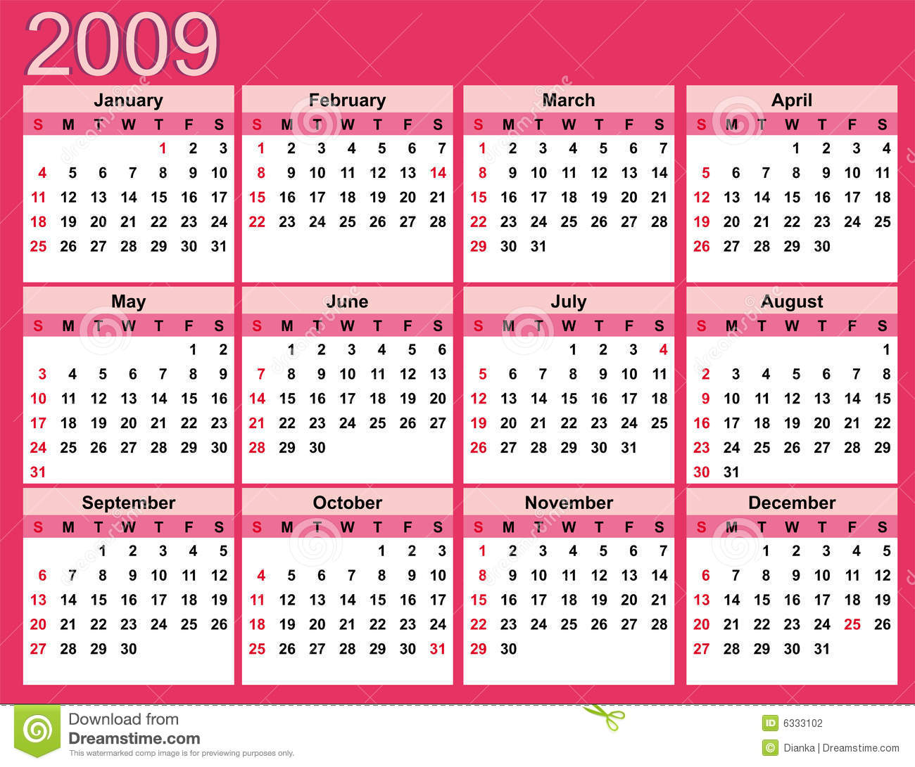 Pink Calendar For 2009 Stock Photography - Image: 6333102