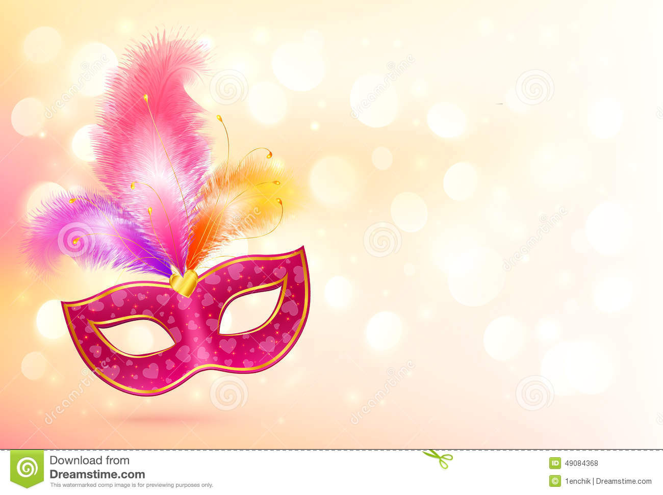 Pink Carnival Mask With Colorful Feathers Banner Stock ...