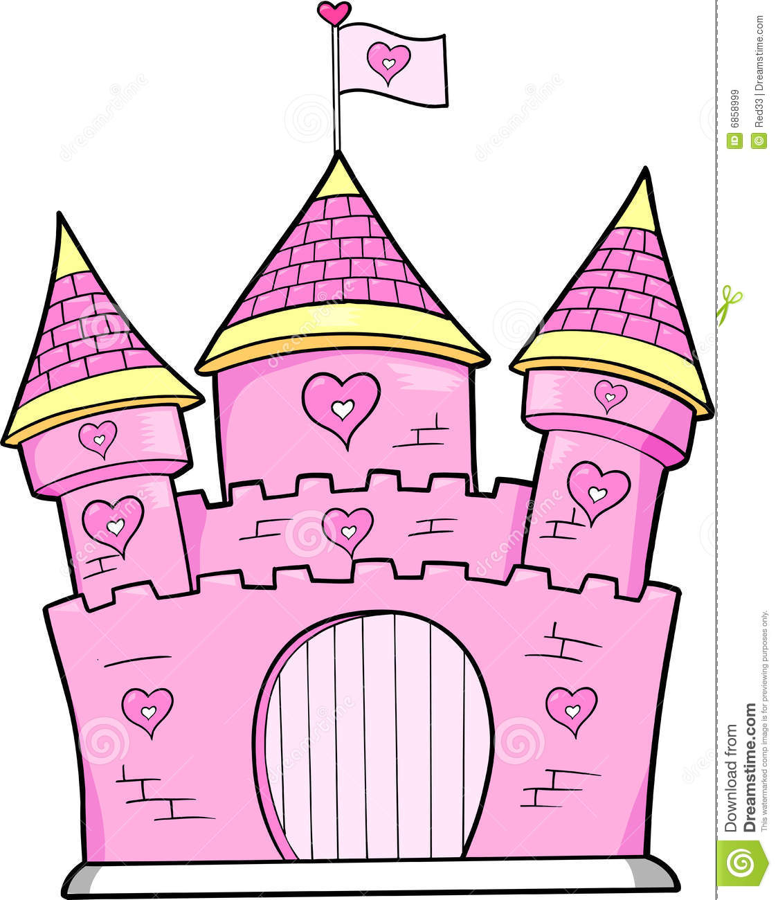 Princess Castle Clip Art Pink castle vector