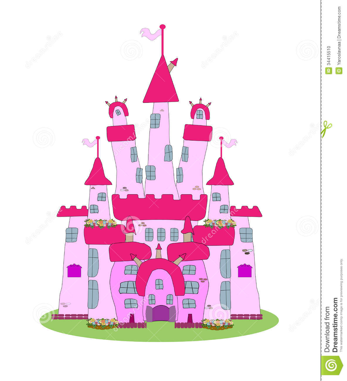 Princess Castle Wall Sticker Pink Castle Vector Stock Photo Image 34415510