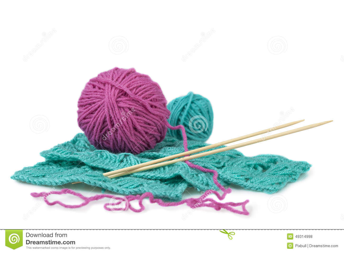 Pink And Celadon Balls Of Wool And Knitting Pattern Stock