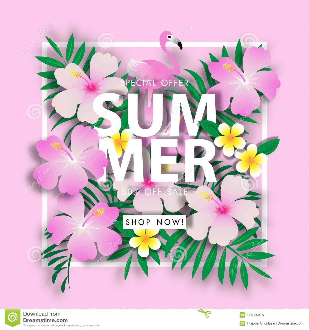 Pink chaba and green leave summer sale background vector illustration sale off template