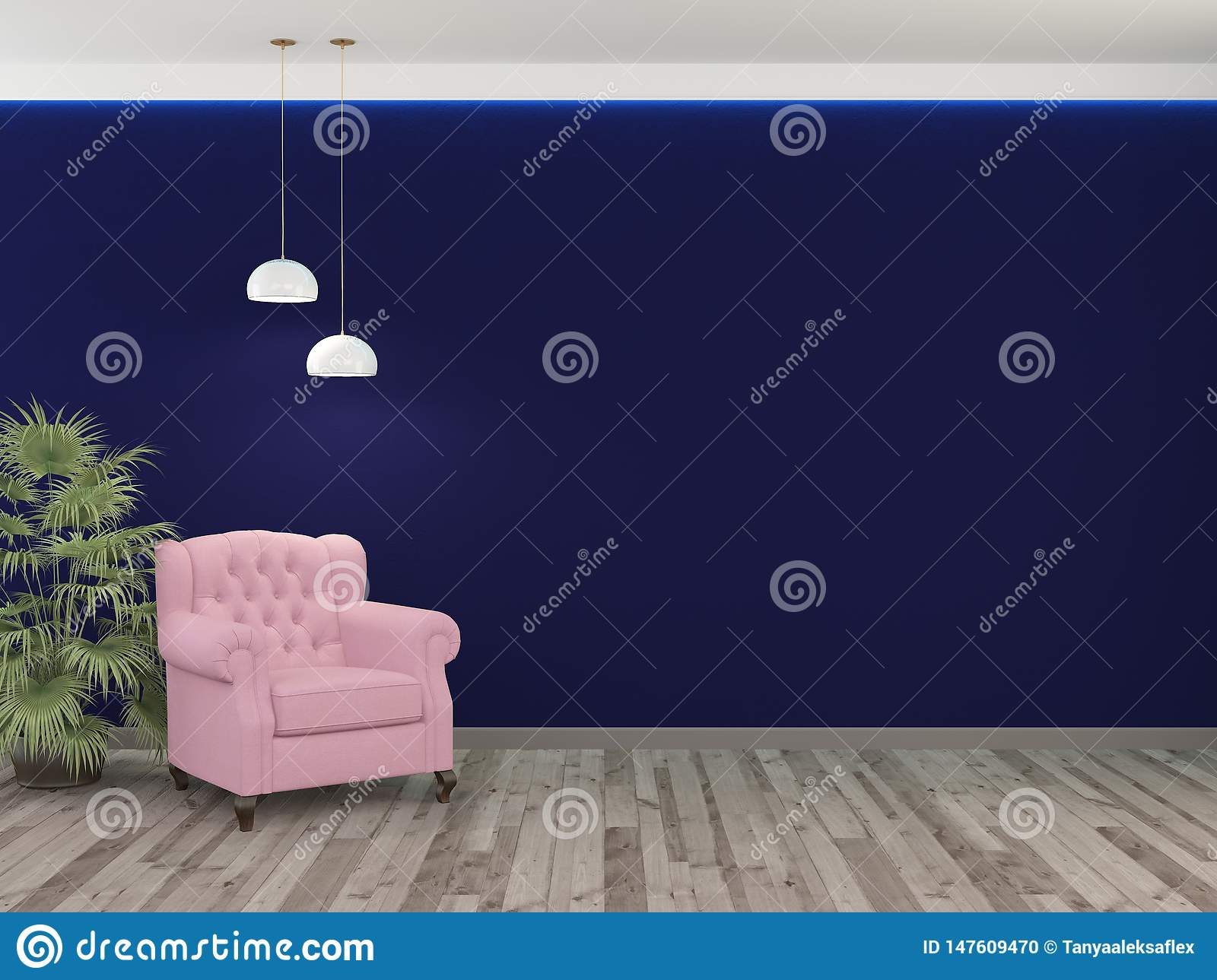 Pink chair, palm plant and blue wall with two lamps. 3D rendering.