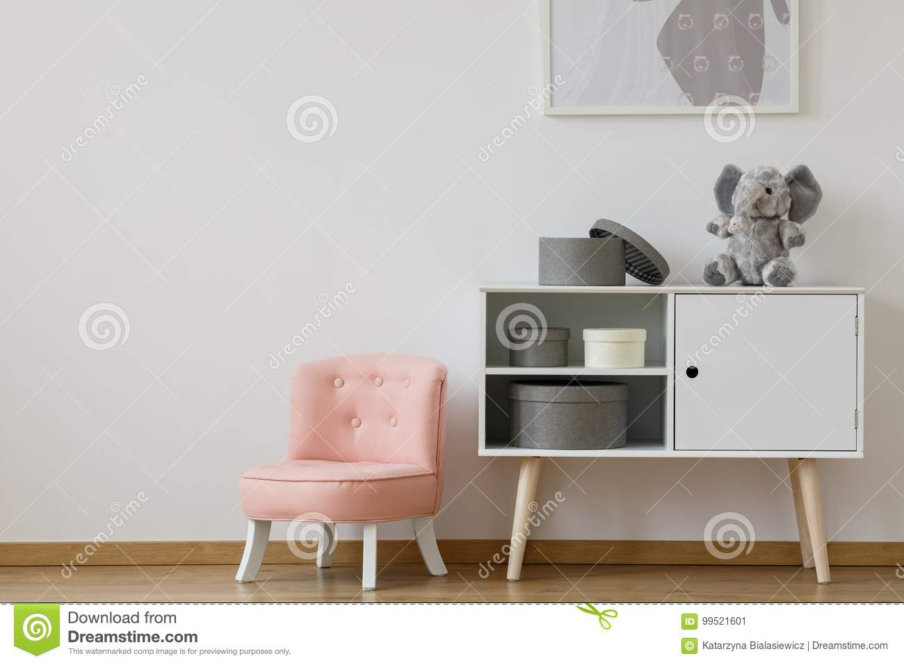 Pink Chair Next To White Shelf Stock Image - Image of pastel ...