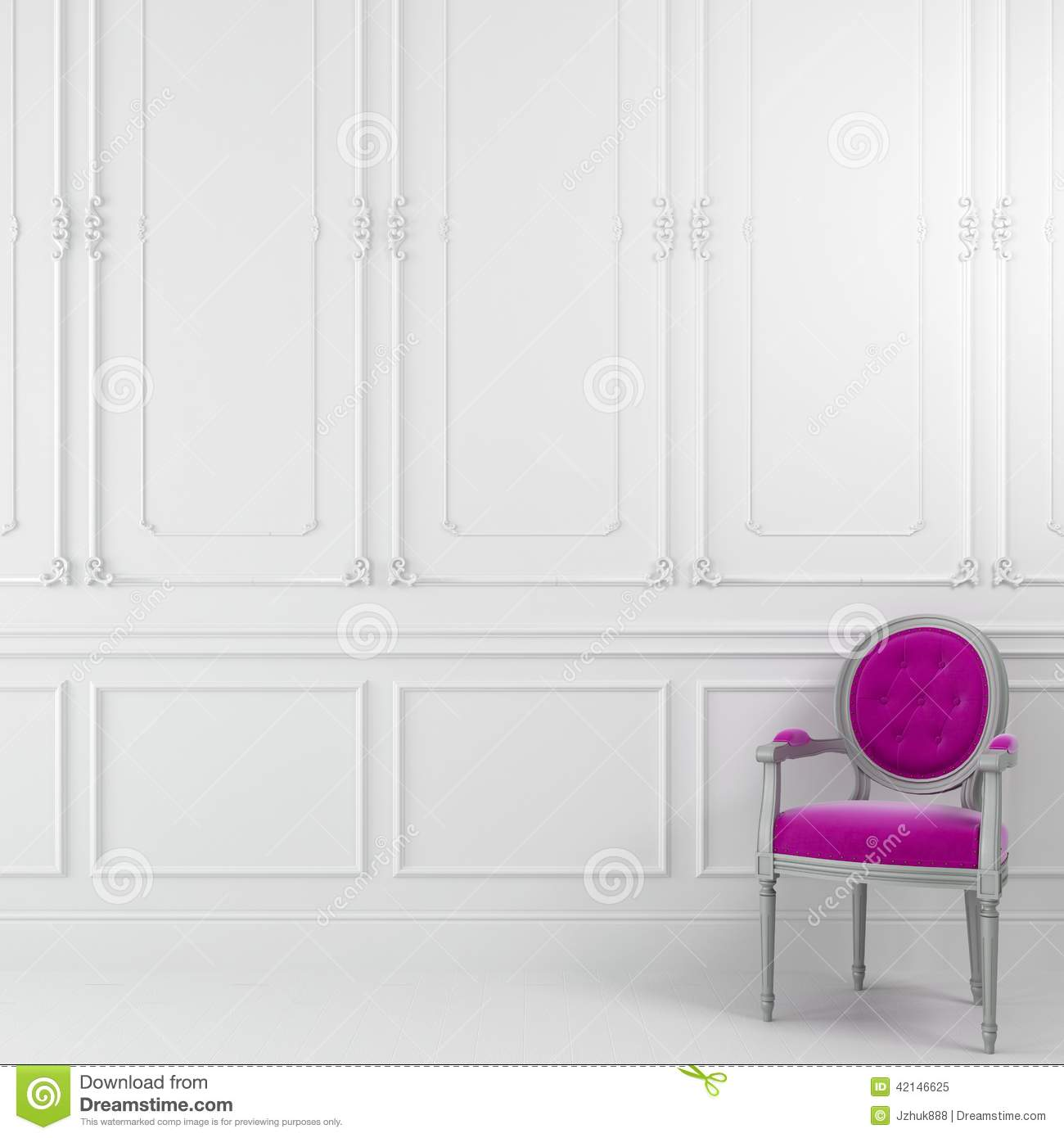 Pink Chair In White Interior Stock Illustration