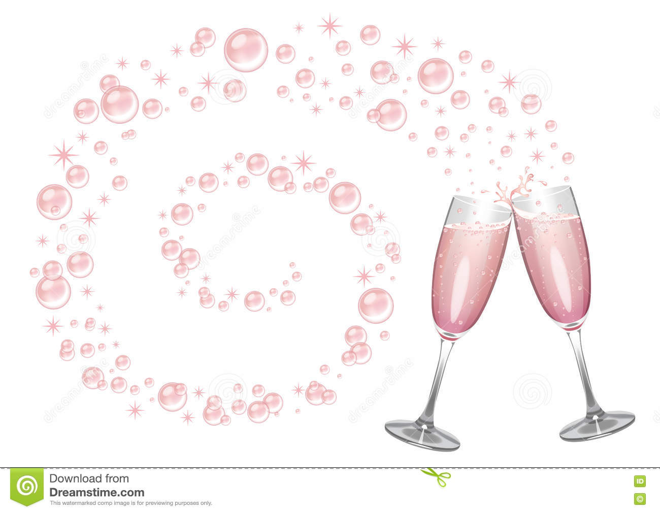 pink champagne bubbles and sparkles stock illustration