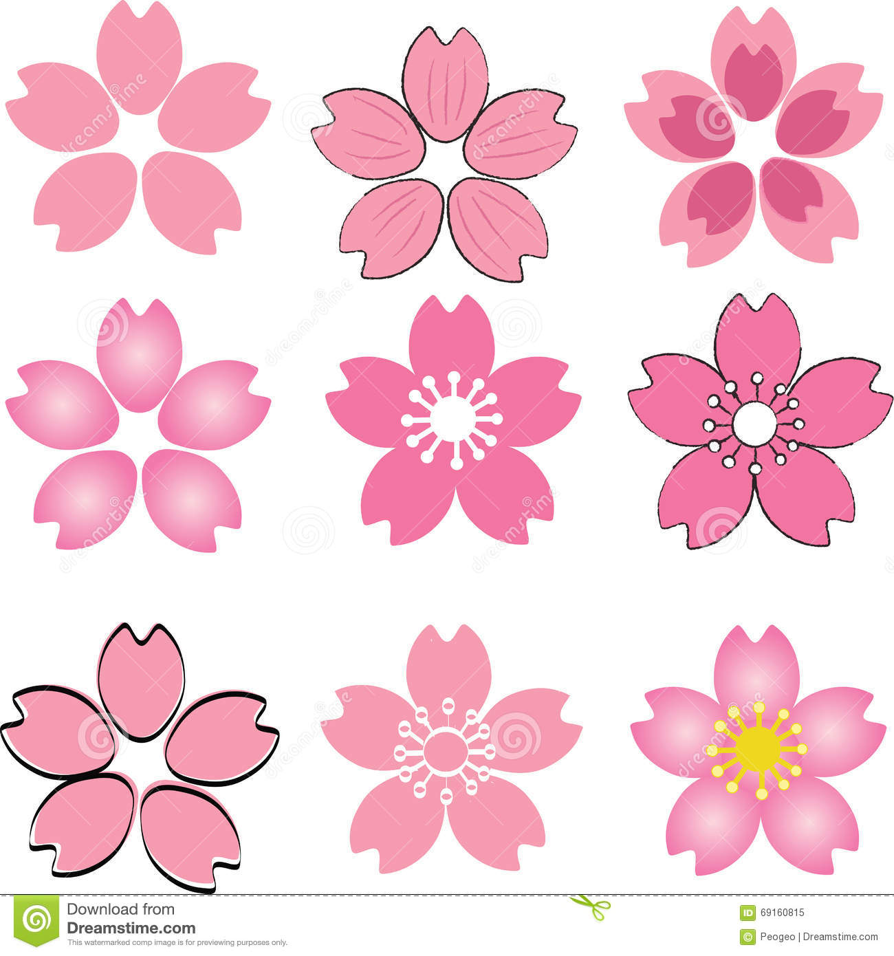 Pink cherry blossom flower set vector with many style include d pink cherry blossom flower set vector with many style include d stock vector illustration of beautiful graphic 69160815 mightylinksfo