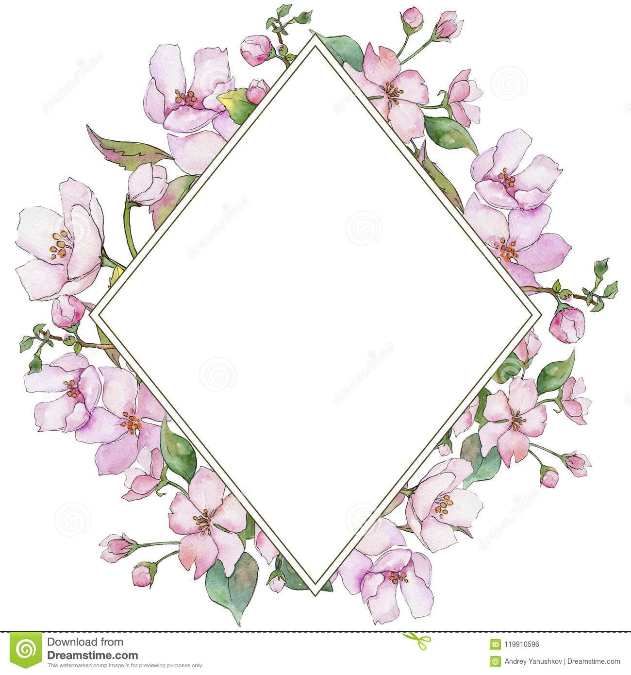 Pink Cherry Blossoms Floral Botanical Flower Frame Border Ornament Square Stock Illustration Illustration Of Paint Drawing 119910596