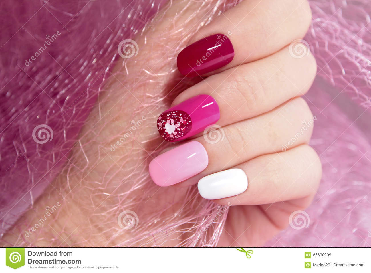 Pink Cherry Nail Design Stock Image Image Of February 85690999