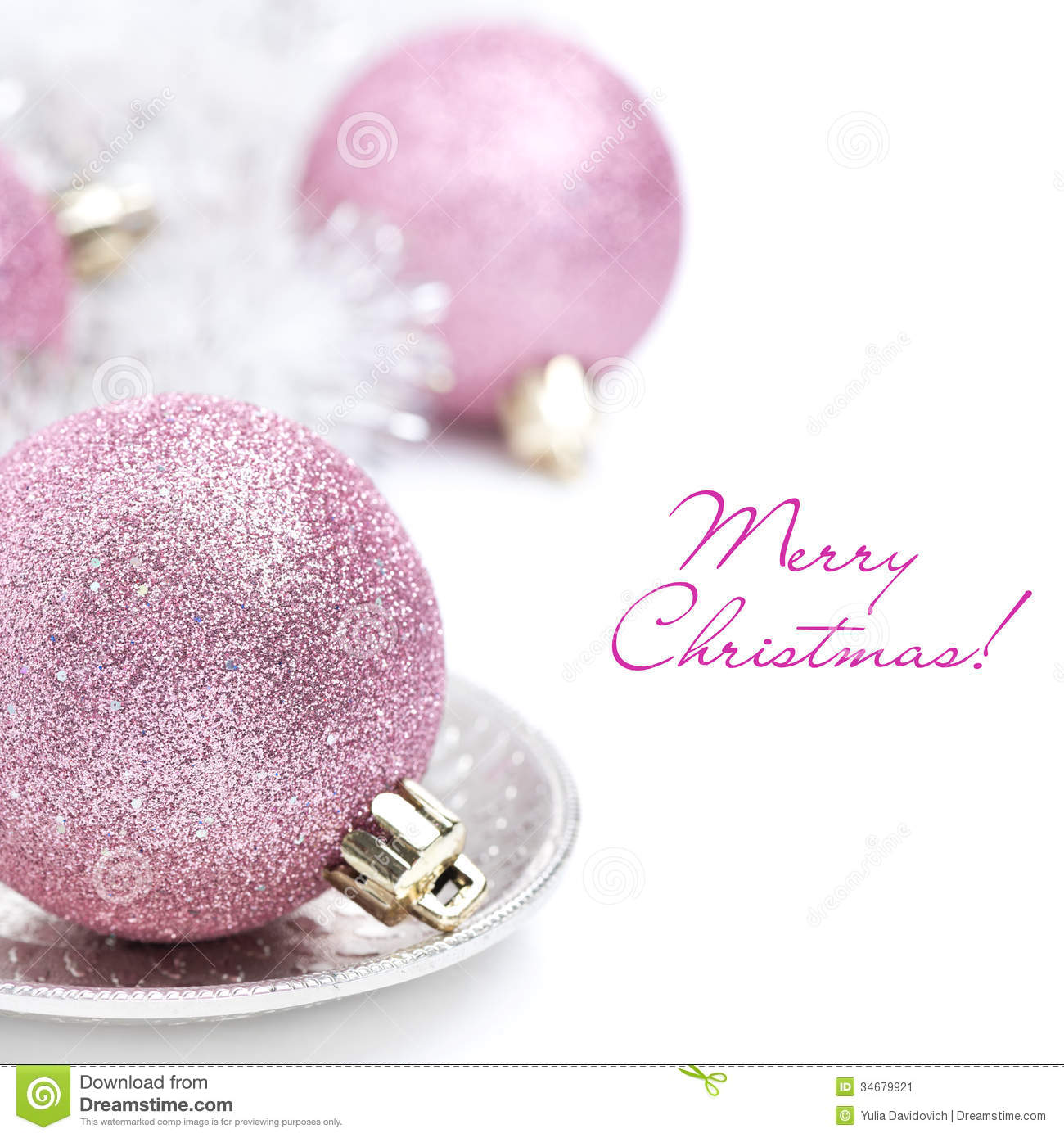 Pink Christmas Ball And Tinsel Close-up, Isolated Stock Image ...