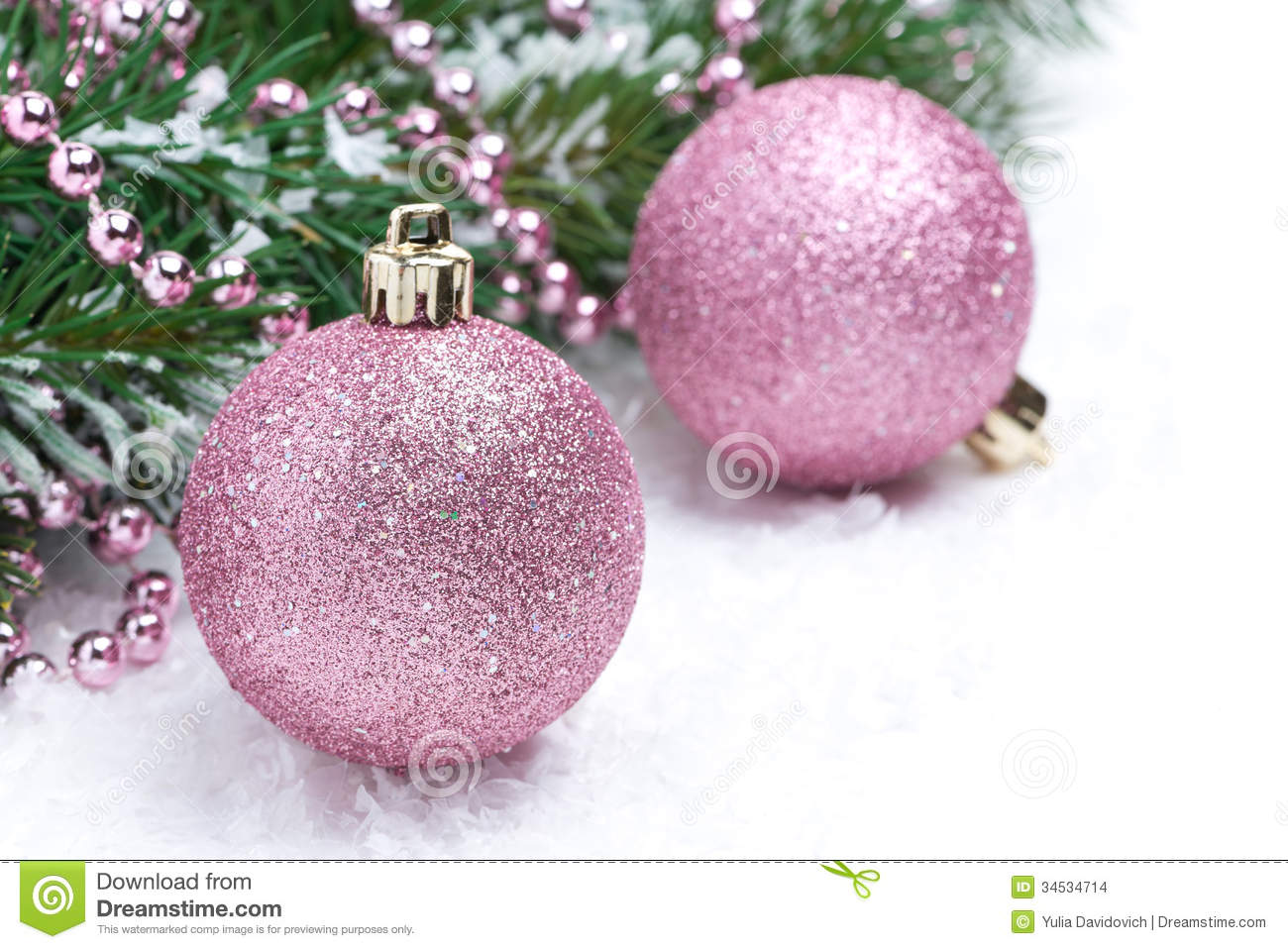 Pink Christmas Balls And Spruce Branches Selective Focus