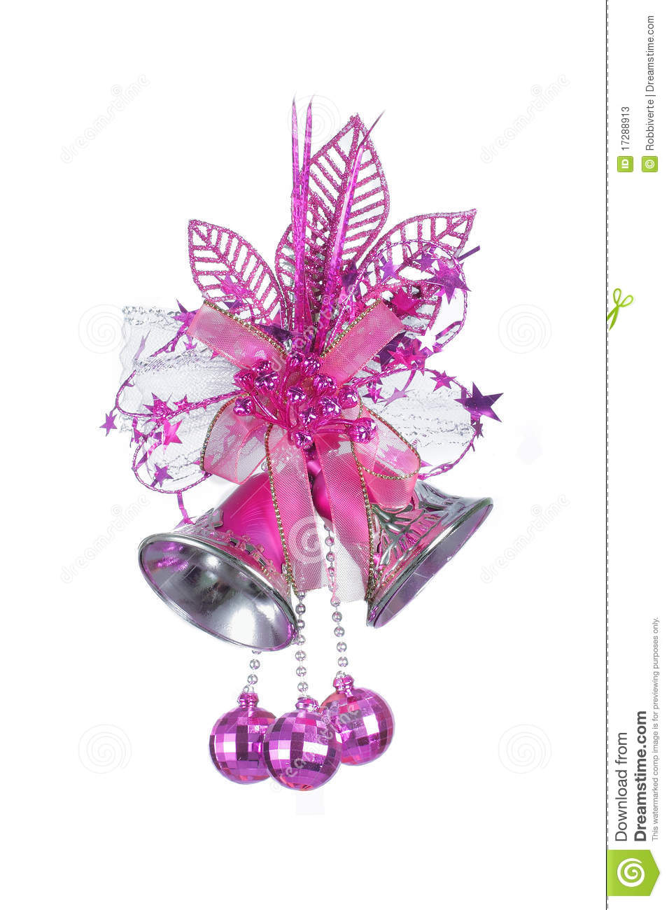 pink christmas bells stock image  image of present  green