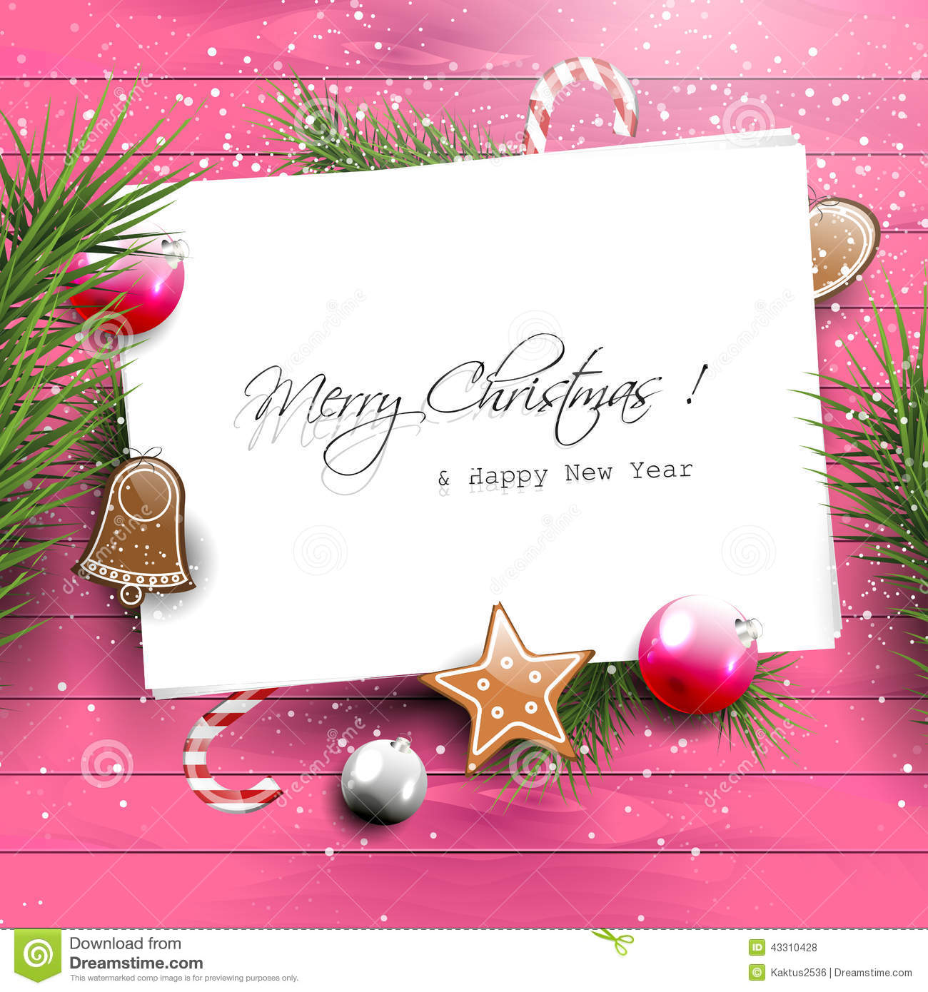 Pink christmas greeting card with copyspace stock vector pink christmas greeting card with copyspace kristyandbryce Image collections