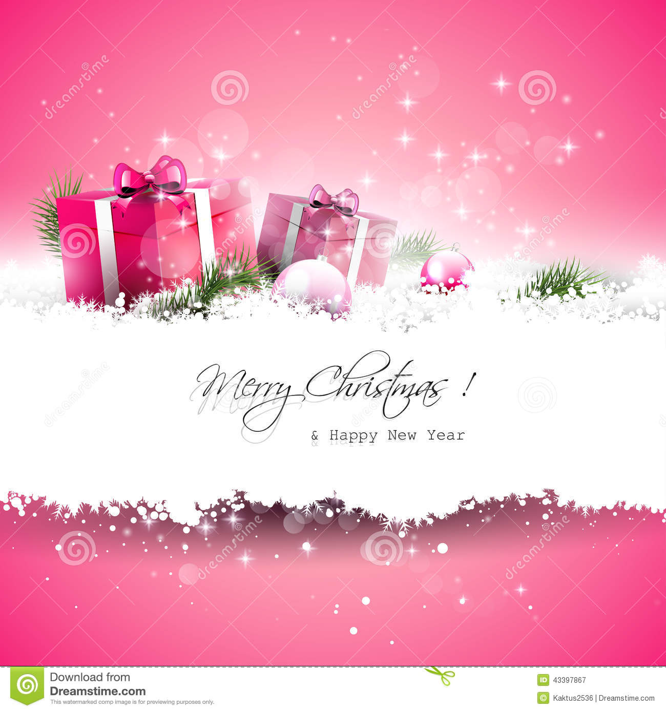 Pink Christmas Greeting Card Stock Image Image Of Copyspace