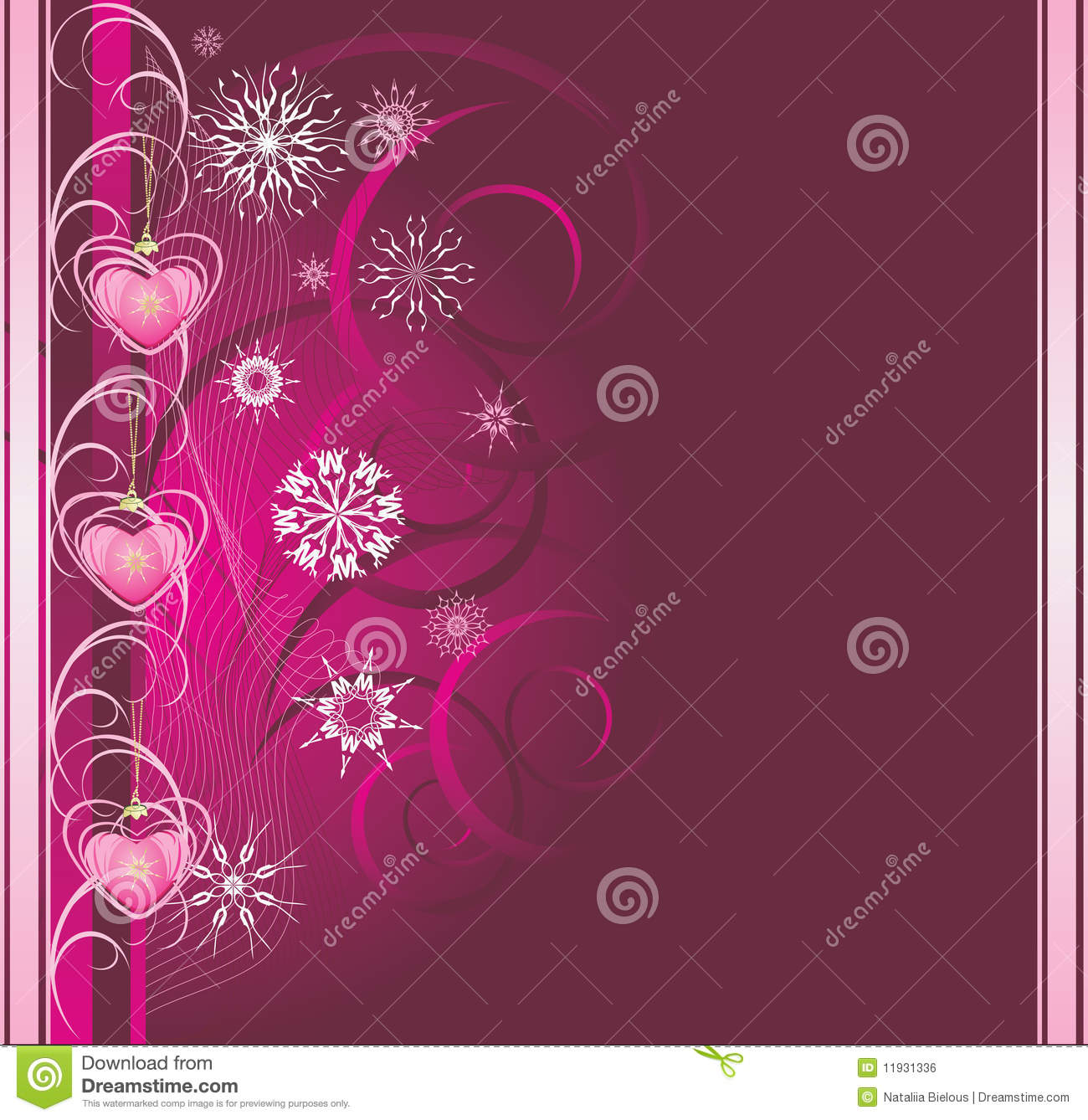 Pink Christmas toys with snowflakes. Banner