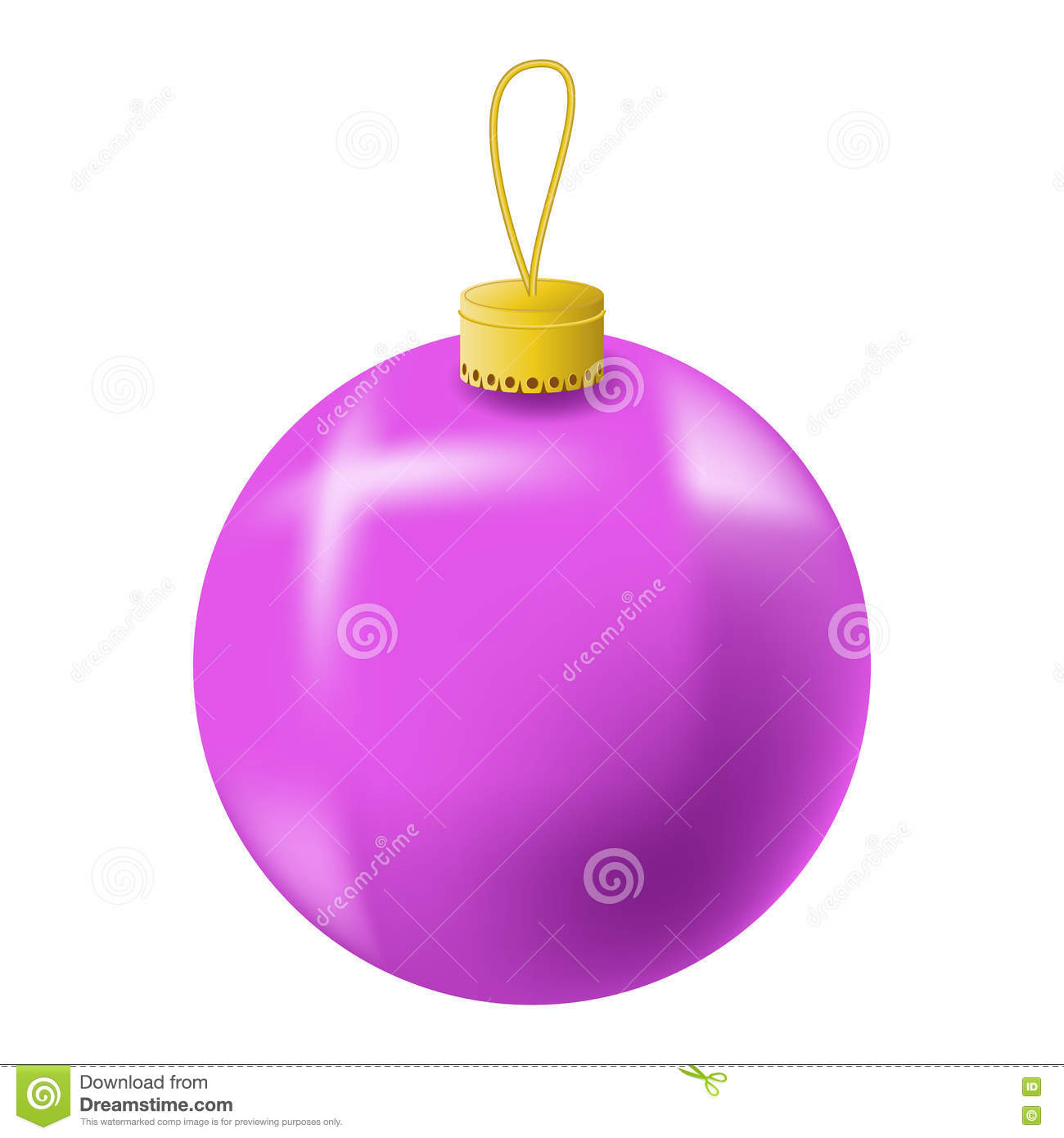 Pink Christmas Tree Ball Realistic Illustration Christmas Fir Tree