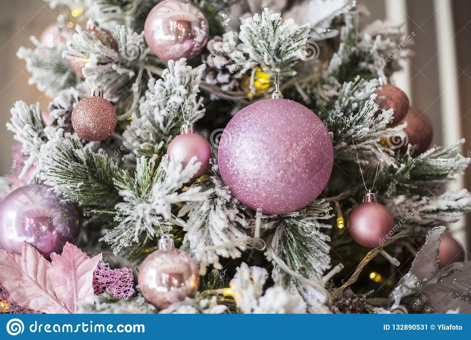 Pink Christmas Tree Decorations In Stock Image Image Of Greens