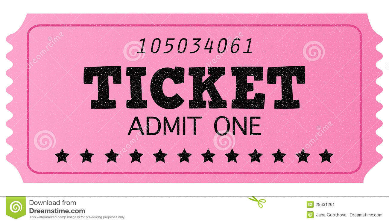 Pink Cinema Retro Admit One Ticket Stock Image Image