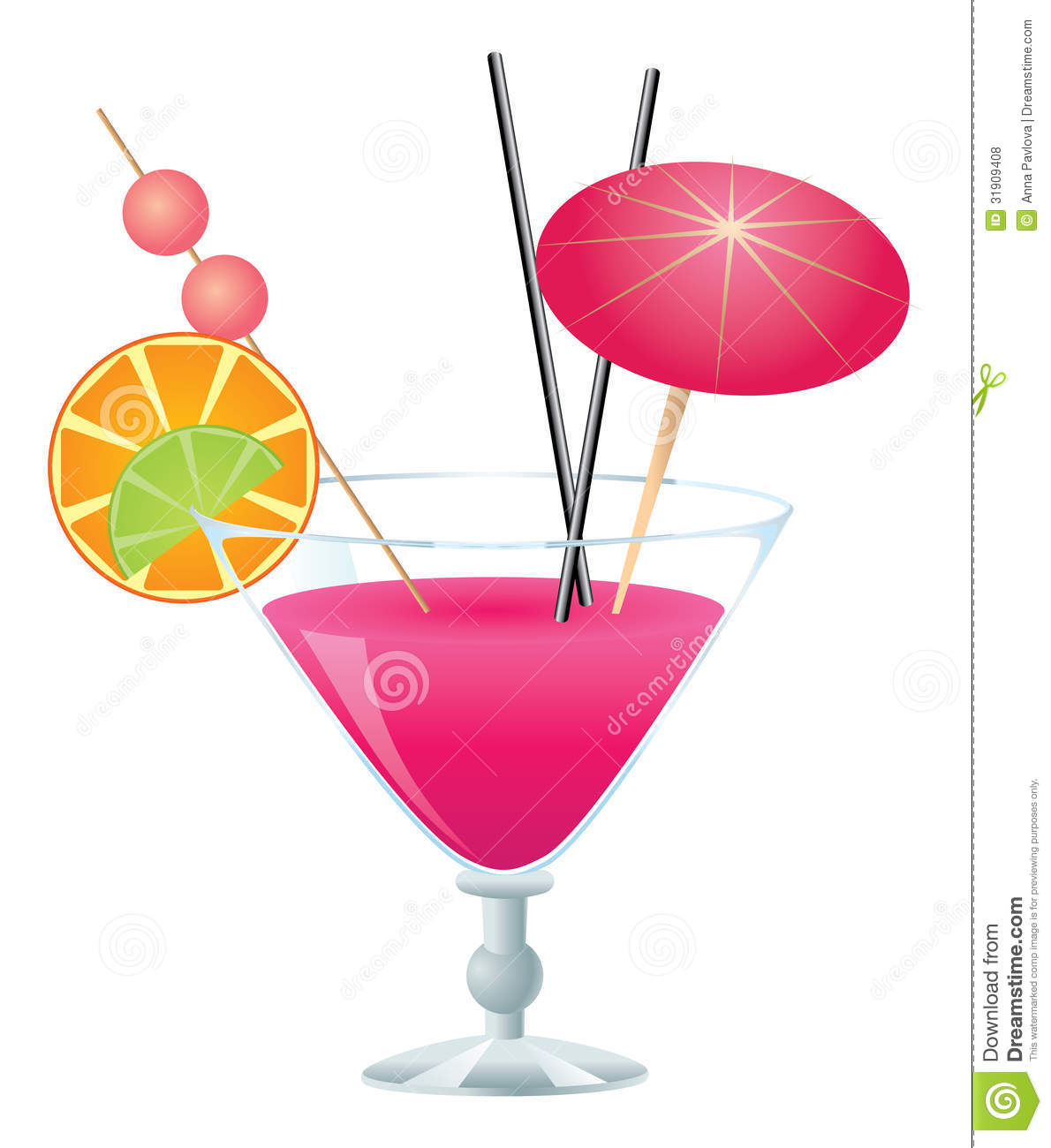 Pink Cocktail Stock Vector. Illustration Of Booze, Party