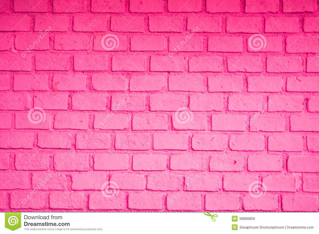 Pink Color Of Brick Wall Stock Photo
